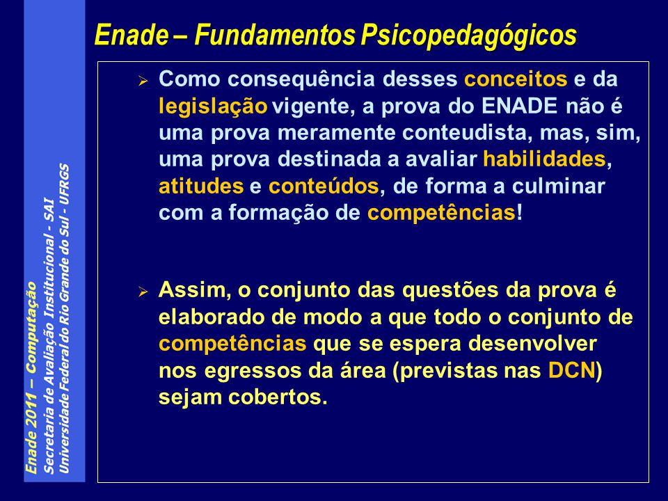 Como consequência desses conceitos e da legislação vigente, a prova do ENADE não é uma prova meramente conteudista, mas, sim, uma prova destinada a av
