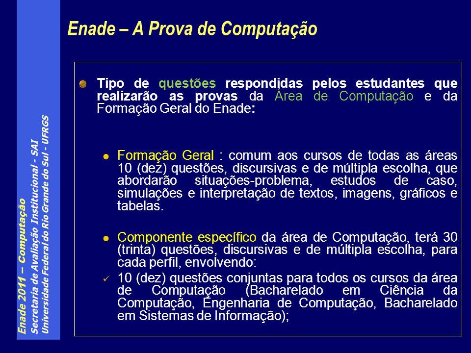 Tipo de questões respondidas pelos estudantes que realizarão as provas da Área de Computação e da Formação Geral do Enade: Formação Geral : comum aos