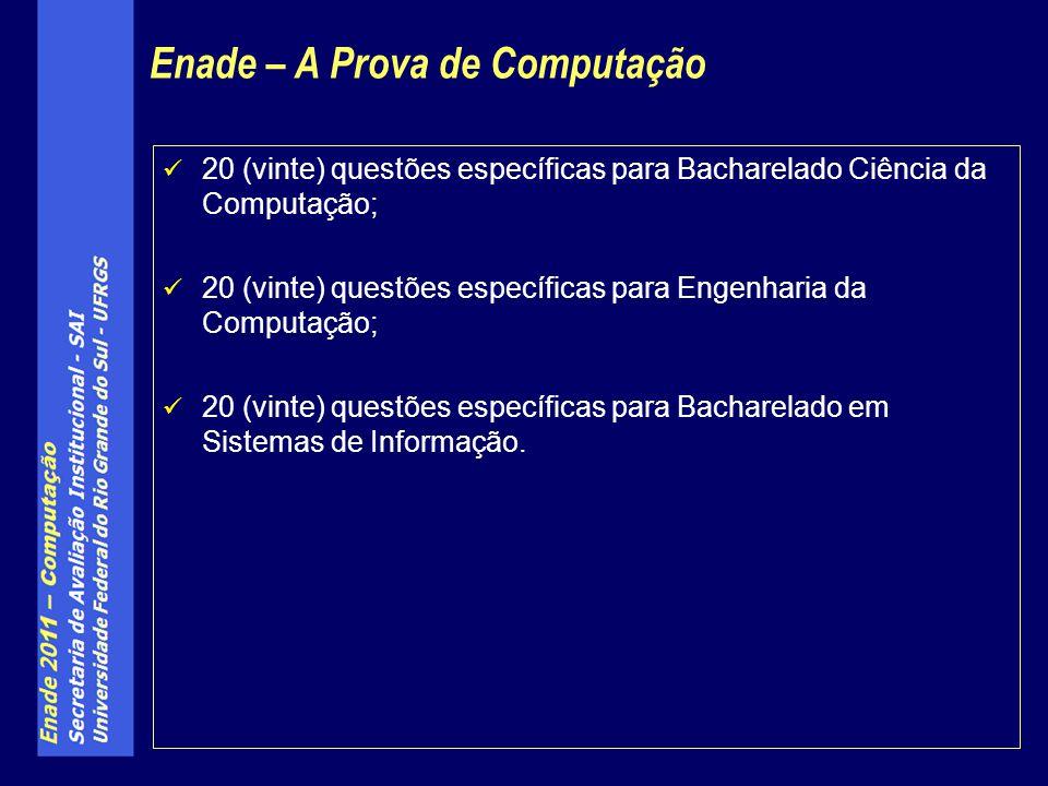 20 (vinte) questões específicas para Bacharelado Ciência da Computação; 20 (vinte) questões específicas para Engenharia da Computação; 20 (vinte) ques