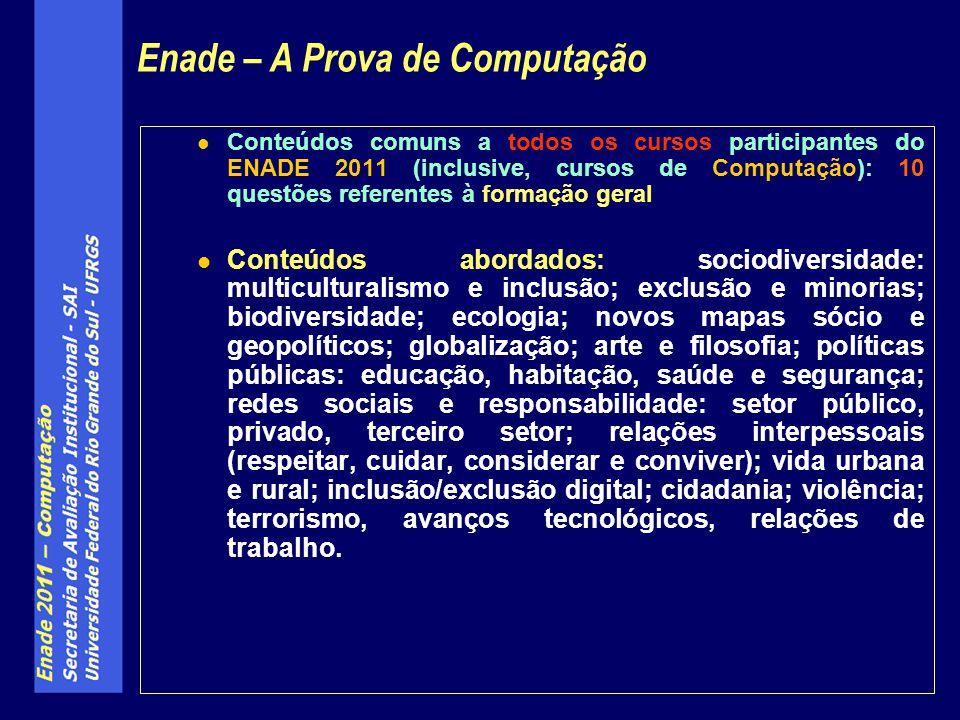 Conteúdos comuns a todos os cursos participantes do ENADE 2011 (inclusive, cursos de Computação): 10 questões referentes à formação geral Conteúdos ab
