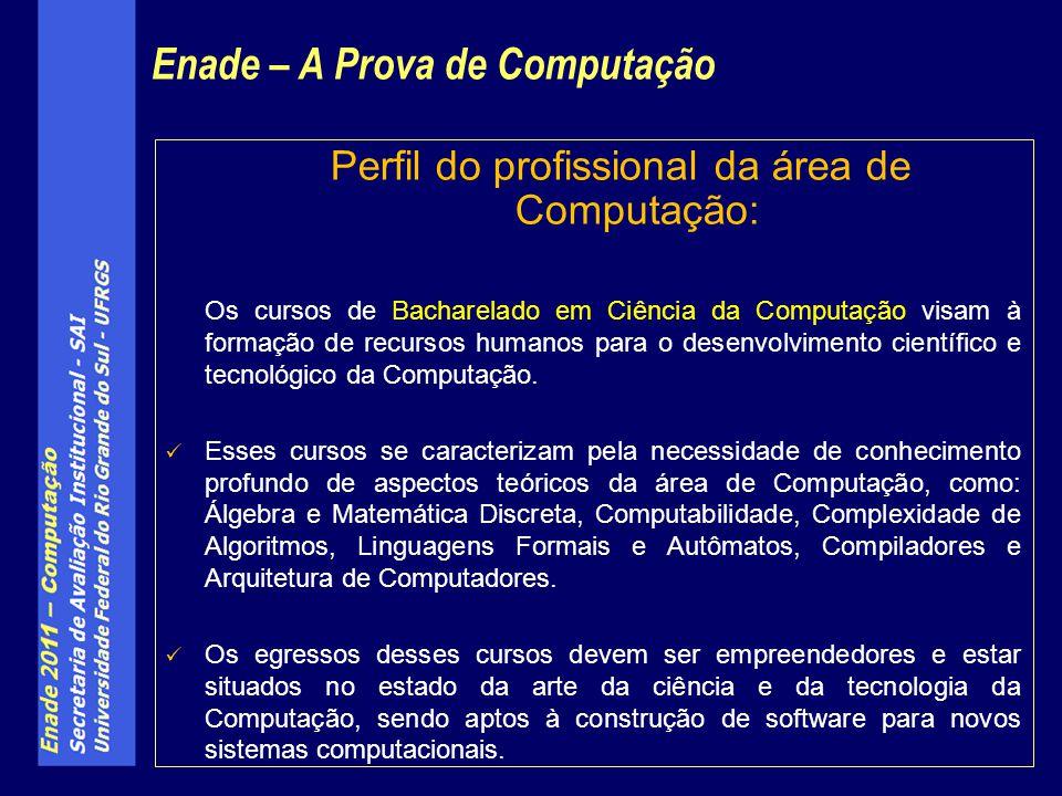 Perfil do profissional da área de Computação: Os cursos de Bacharelado em Ciência da Computação visam à formação de recursos humanos para o desenvolvi