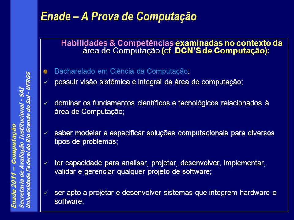 Habilidades & Competências examinadas no contexto da área de Computação (cf. DCNS de Computação): Bacharelado em Ciência da Computação: possuir visão