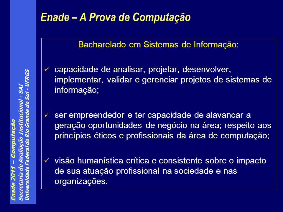 Bacharelado em Sistemas de Informação: capacidade de analisar, projetar, desenvolver, implementar, validar e gerenciar projetos de sistemas de informa