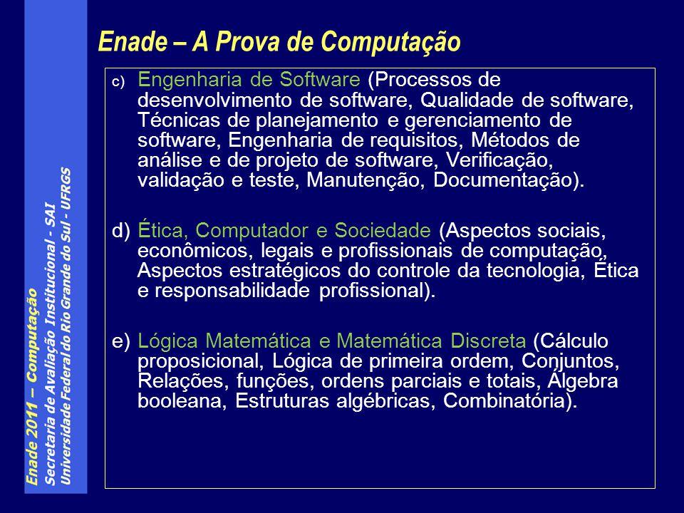 c) Engenharia de Software (Processos de desenvolvimento de software, Qualidade de software, Técnicas de planejamento e gerenciamento de software, Enge