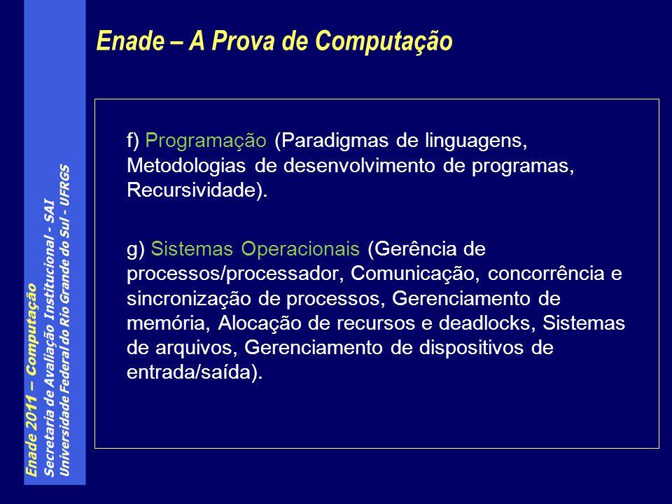 f) Programação (Paradigmas de linguagens, Metodologias de desenvolvimento de programas, Recursividade). g) Sistemas Operacionais (Gerência de processo