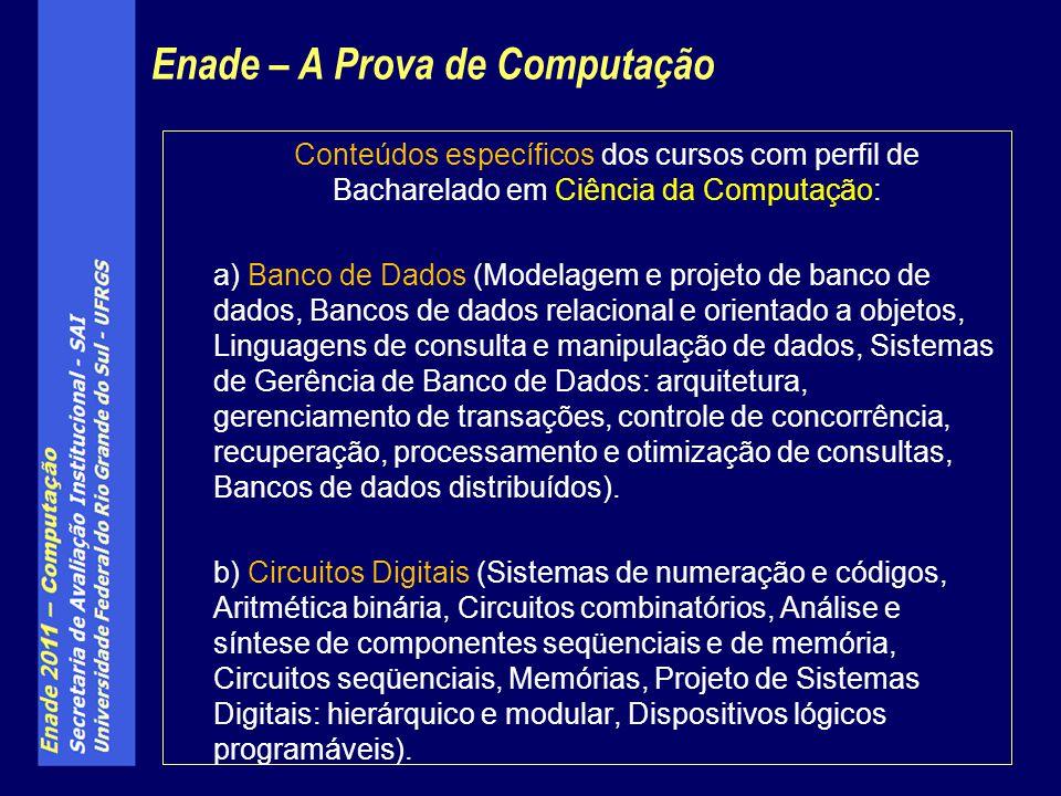 Conteúdos específicos dos cursos com perfil de Bacharelado em Ciência da Computação: a) Banco de Dados (Modelagem e projeto de banco de dados, Bancos