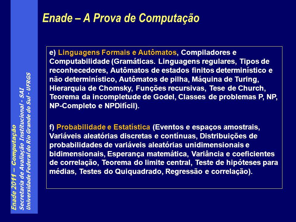 e) Linguagens Formais e Autômatos, Compiladores e Computabilidade (Gramáticas. Linguagens regulares, Tipos de reconhecedores, Autômatos de estados fin