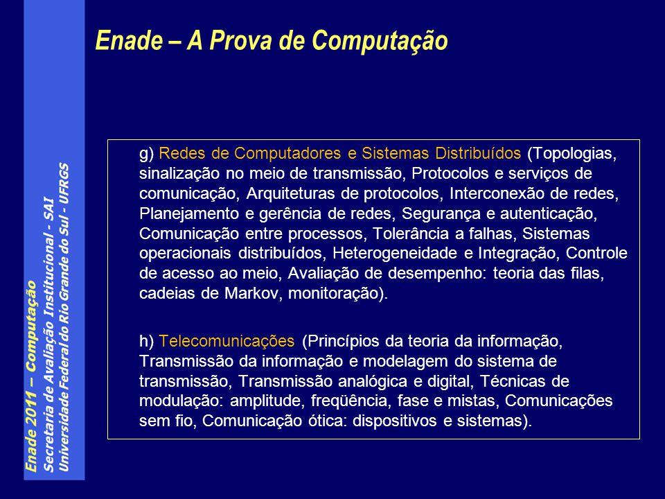 g) Redes de Computadores e Sistemas Distribuídos (Topologias, sinalização no meio de transmissão, Protocolos e serviços de comunicação, Arquiteturas d