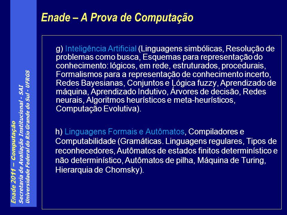 g) Inteligência Artificial (Linguagens simbólicas, Resolução de problemas como busca, Esquemas para representação do conhecimento: lógicos, em rede, e