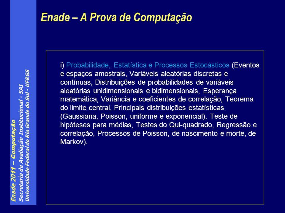 i) Probabilidade, Estatística e Processos Estocásticos (Eventos e espaços amostrais, Variáveis aleatórias discretas e contínuas, Distribuições de prob