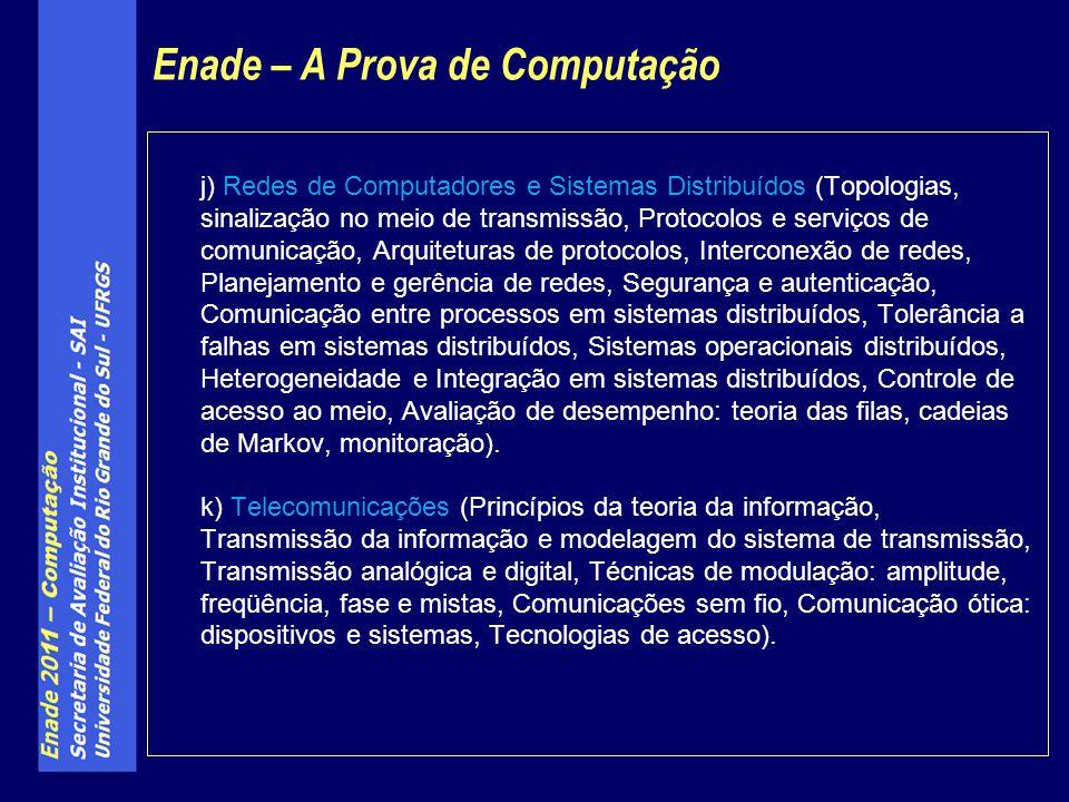 j) Redes de Computadores e Sistemas Distribuídos (Topologias, sinalização no meio de transmissão, Protocolos e serviços de comunicação, Arquiteturas d