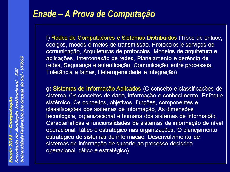 f) Redes de Computadores e Sistemas Distribuídos (Tipos de enlace, códigos, modos e meios de transmissão, Protocolos e serviços de comunicação, Arquit