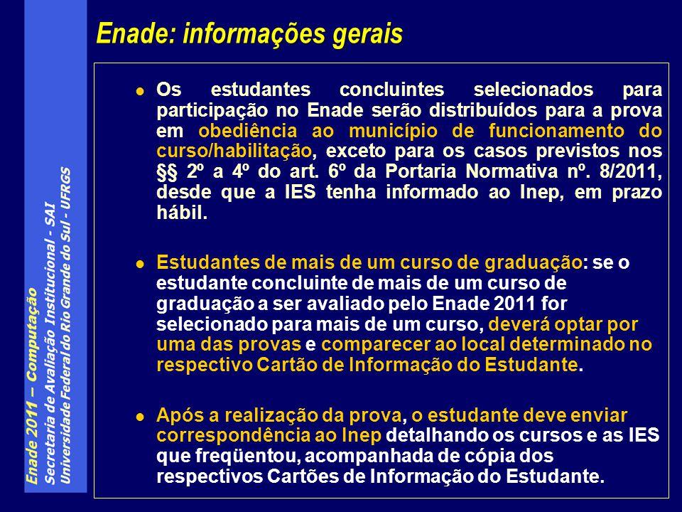 Os estudantes concluintes selecionados para participação no Enade serão distribuídos para a prova em obediência ao município de funcionamento do curso