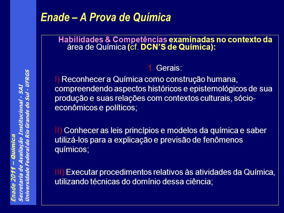 Habilidades & Competências examinadas no contexto da área de Química (cf. DCNS de Química): 1. Gerais: I) Reconhecer a Química como construção humana,