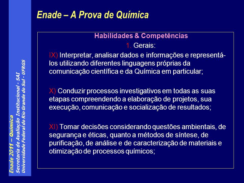 Habilidades & Competências 1. Gerais: IX) Interpretar, analisar dados e informações e representá- los utilizando diferentes linguagens próprias da com