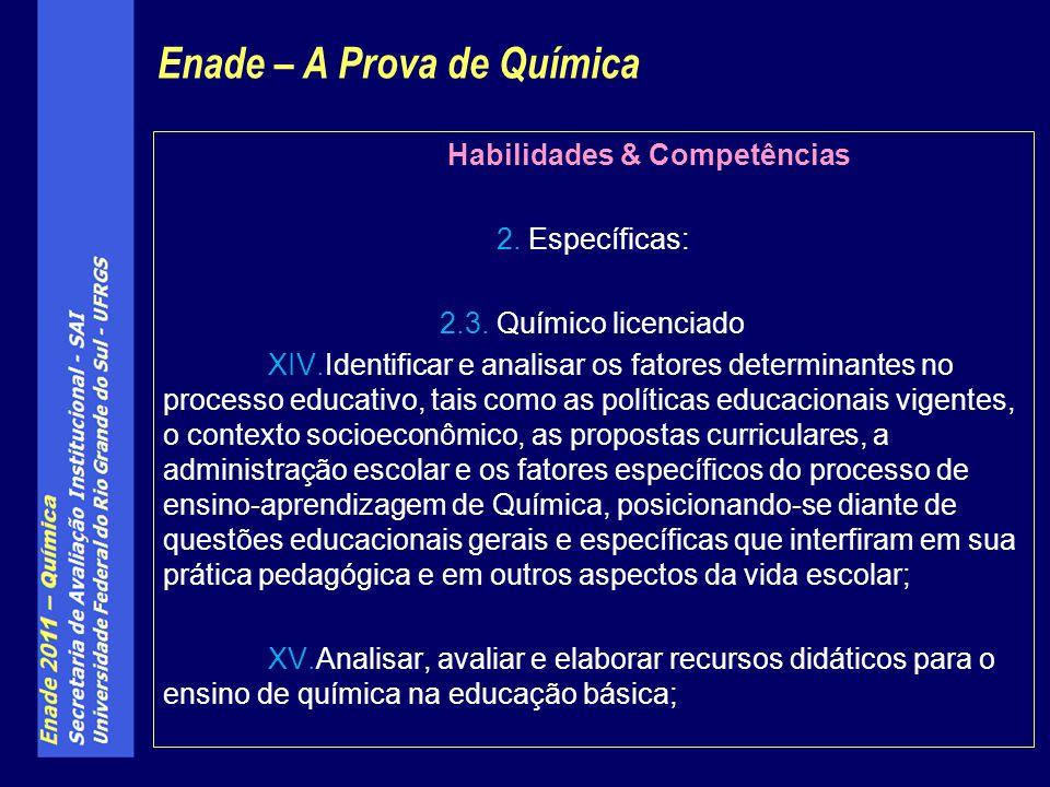 Habilidades & Competências 2. Específicas: 2.3. Químico licenciado XIV.Identificar e analisar os fatores determinantes no processo educativo, tais com
