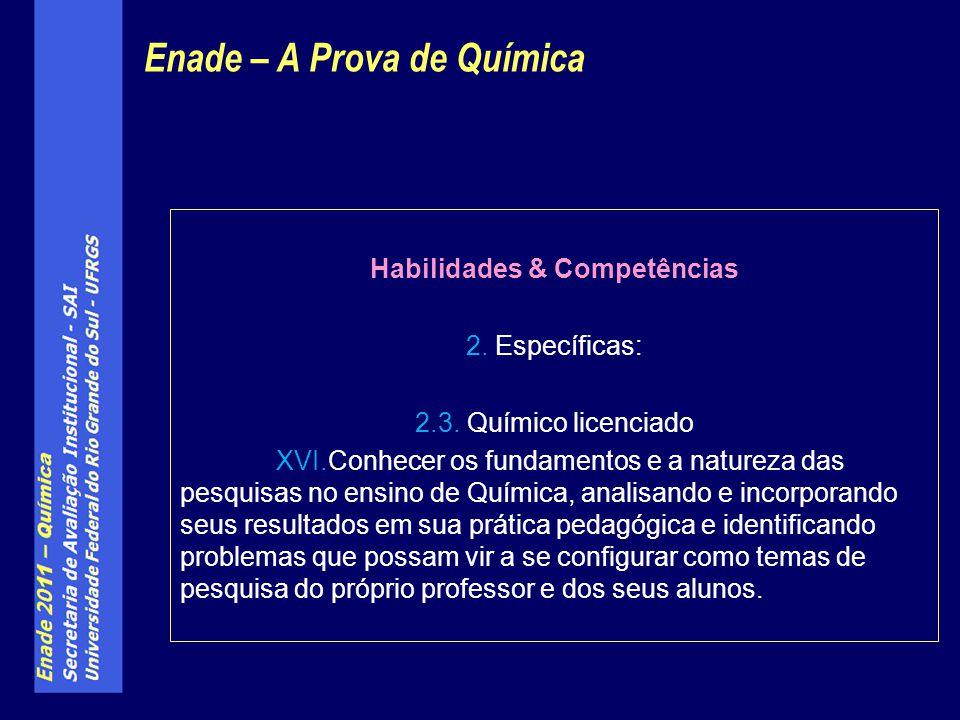 Habilidades & Competências 2. Específicas: 2.3. Químico licenciado XVI.Conhecer os fundamentos e a natureza das pesquisas no ensino de Química, analis