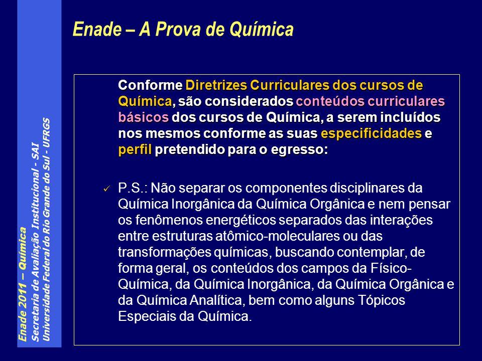 Conforme Diretrizes Curriculares dos cursos de Química, são considerados conteúdos curriculares básicos dos cursos de Química, a serem incluídos nos m