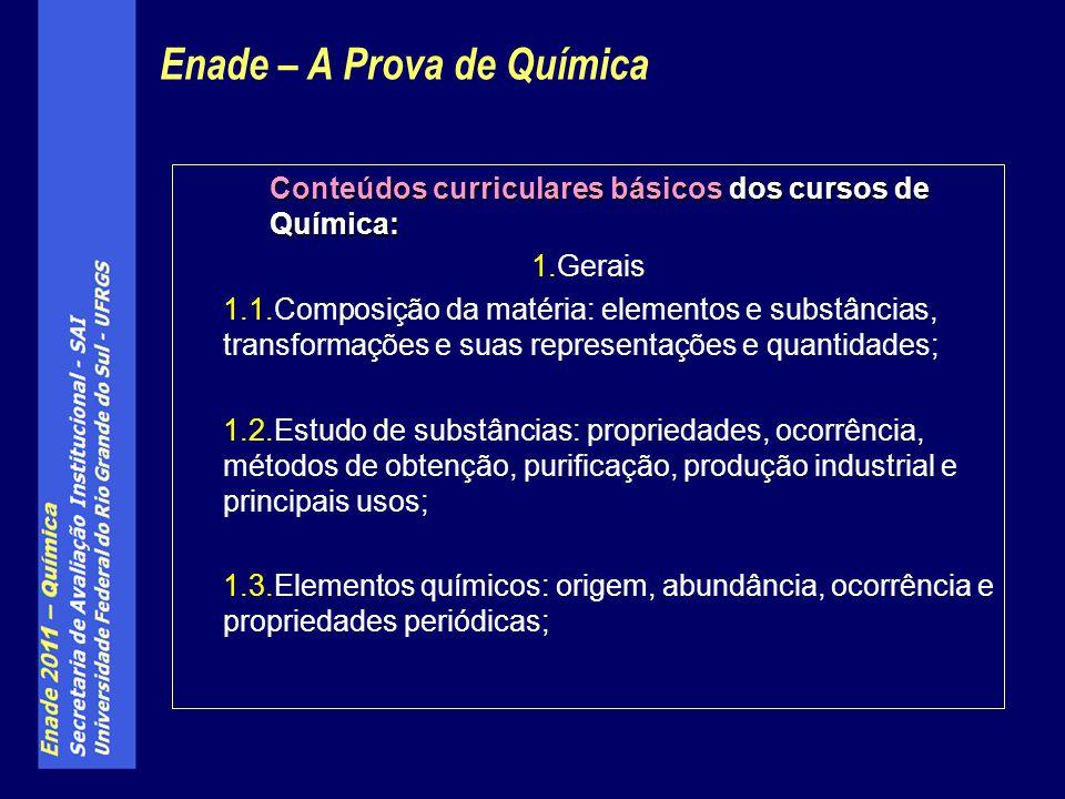 Conteúdos curriculares básicos dos cursos de Química: 1.Gerais 1.1.Composição da matéria: elementos e substâncias, transformações e suas representaçõe