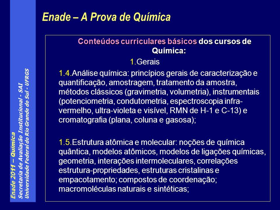 Conteúdos curriculares básicos dos cursos de Química: 1.Gerais 1.4.Análise química: princípios gerais de caracterização e quantificação, amostragem, t