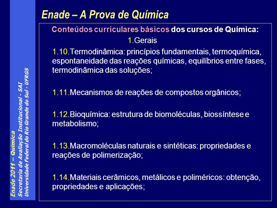 Conteúdos curriculares básicos dos cursos de Química: 1.Gerais 1.10.Termodinâmica: princípios fundamentais, termoquímica, espontaneidade das reações q