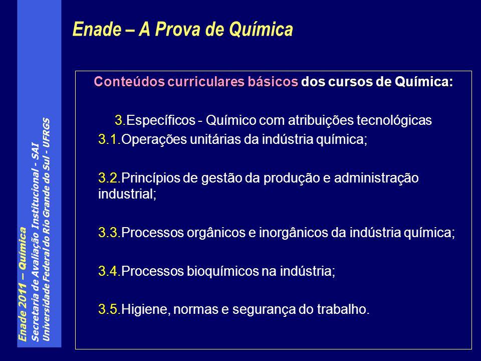 Conteúdos curriculares básicos dos cursos de Química: 3.Específicos - Químico com atribuições tecnológicas 3.1.Operações unitárias da indústria químic