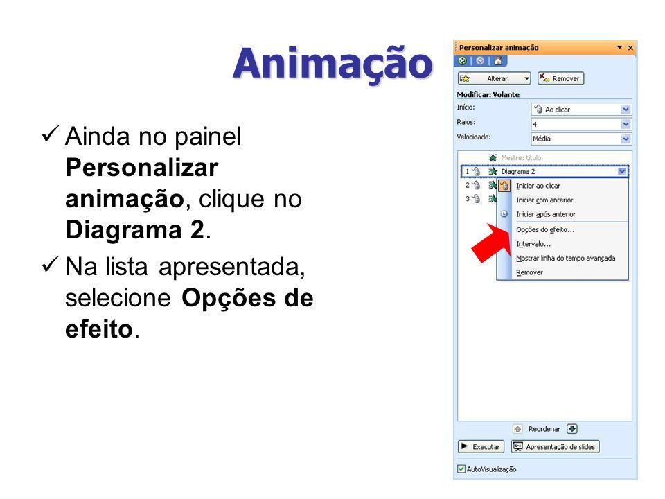 Animação Ainda no painel Personalizar animação, clique no Diagrama 2. Na lista apresentada, selecione Opções de efeito.