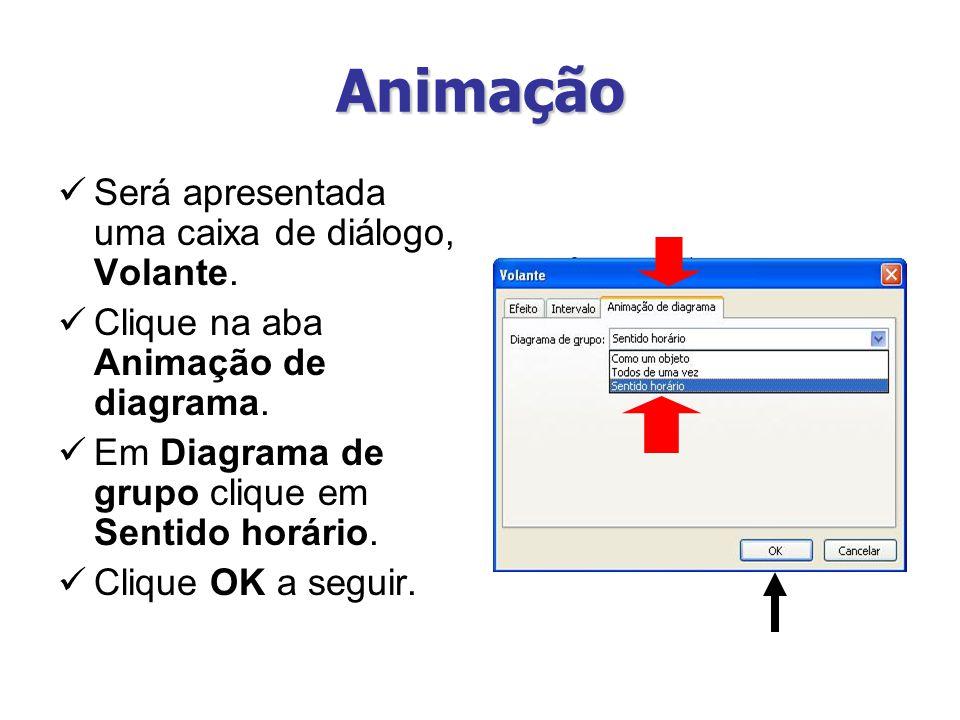 Animação Será apresentada uma caixa de diálogo, Volante. Clique na aba Animação de diagrama. Em Diagrama de grupo clique em Sentido horário. Clique OK