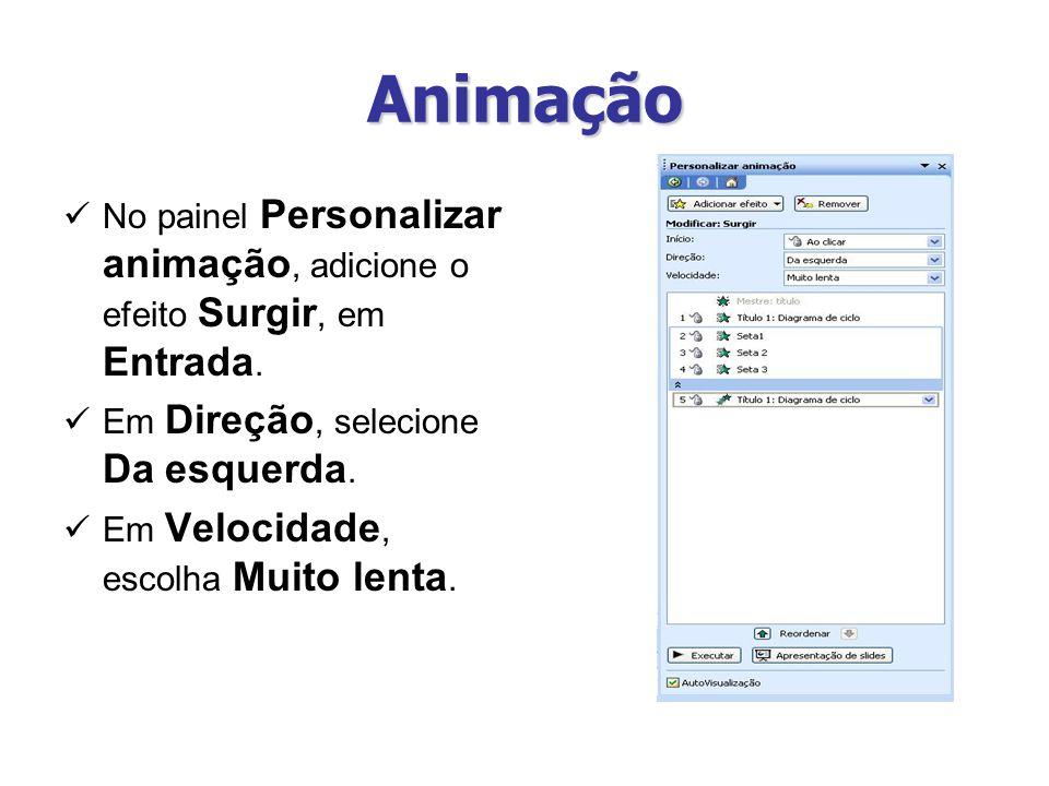 Animação No painel Personalizar animação, adicione o efeito Surgir, em Entrada. Em Direção, selecione Da esquerda. Em Velocidade, escolha Muito lenta.