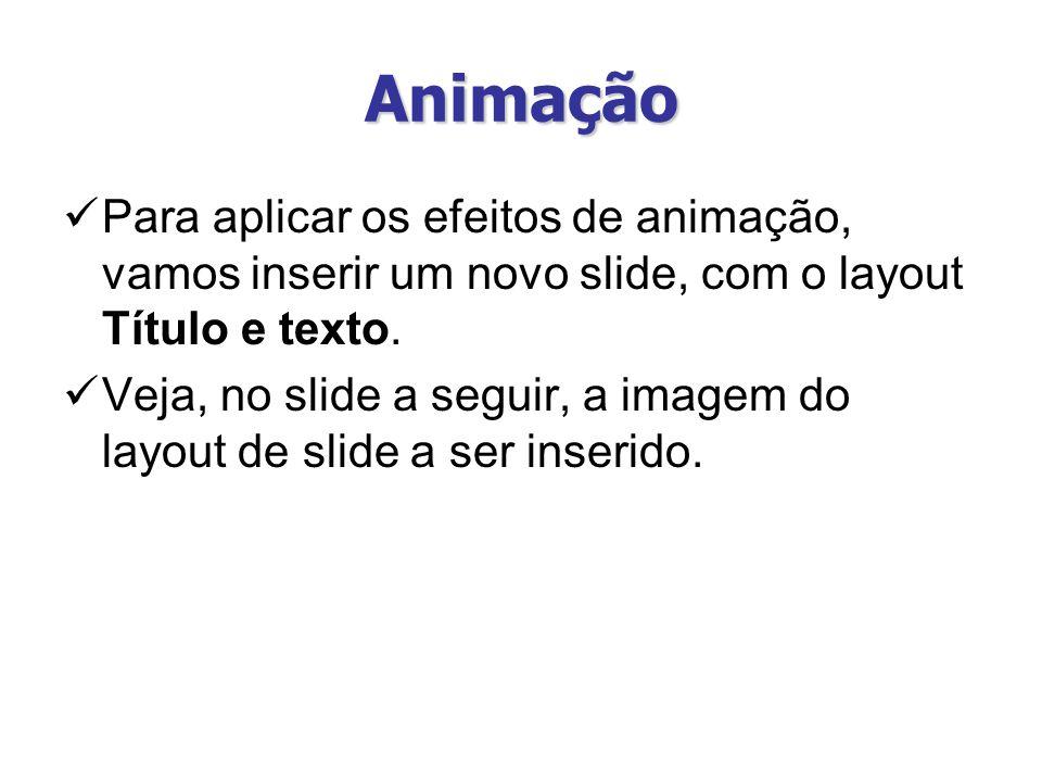 Animação Os efeitos de animação também podem ser aplicados a objetos no PowerPoint.