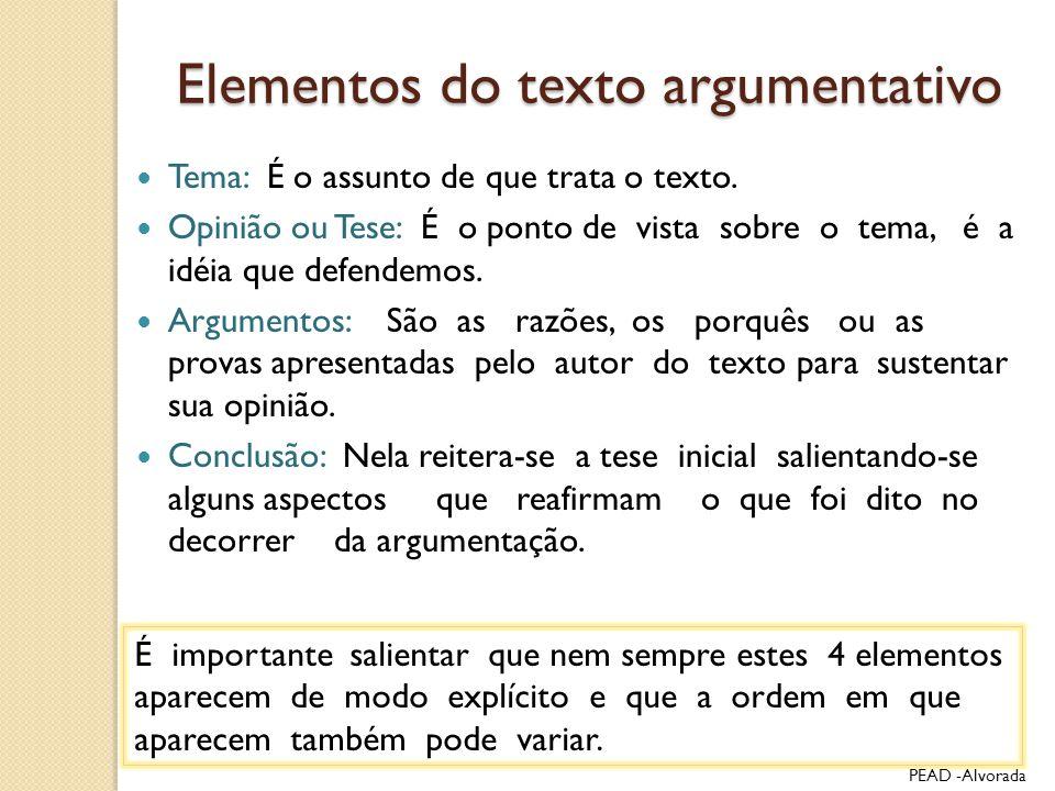 Elementos do texto argumentativo Tema: É o assunto de que trata o texto. Opinião ou Tese: É o ponto de vista sobre o tema, é a idéia que defendemos. A