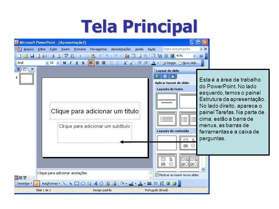 Tela Principal Esta é a área de trabalho do PowerPoint. No lado esquerdo, temos o painel Estrutura da apresentação. No lado direito, aparece o painel