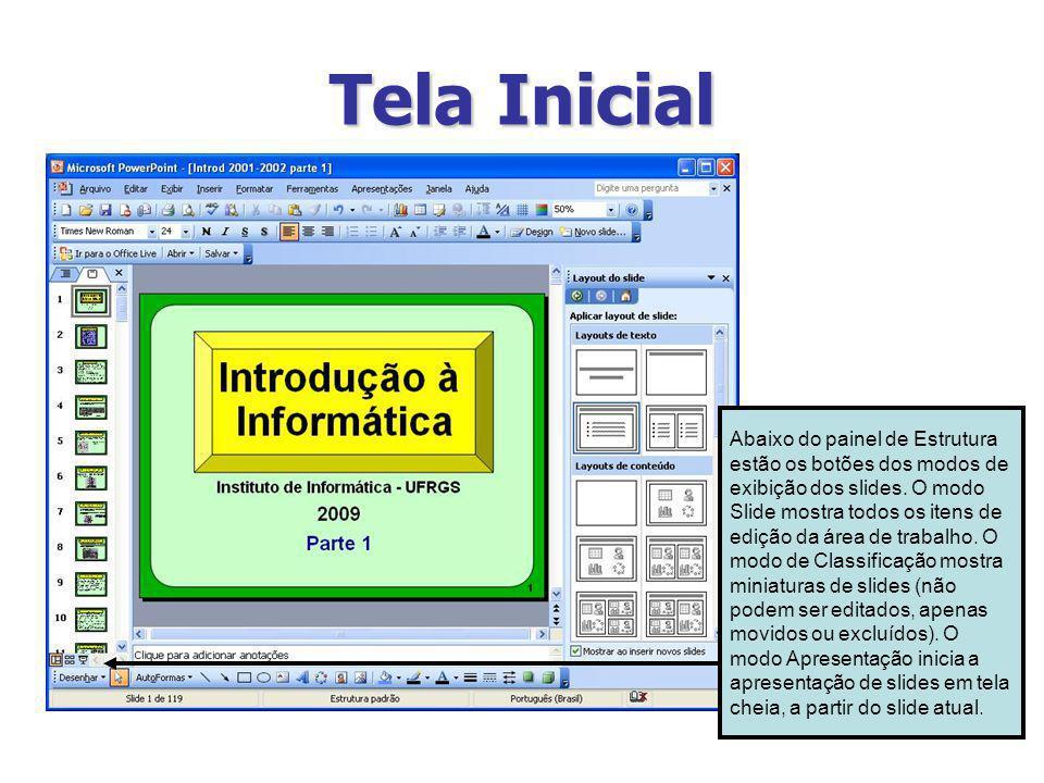 Tela Inicial Abaixo do painel de Estrutura estão os botões dos modos de exibição dos slides. O modo Slide mostra todos os itens de edição da área de t