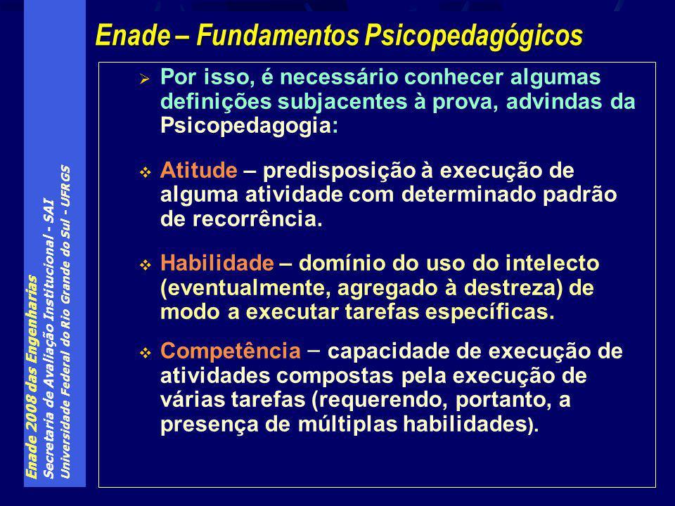 Enade 2008 das Engenharias Secretaria de Avaliação Institucional - SAI Universidade Federal do Rio Grande do Sul - UFRGS Por isso, é necessário conhecer algumas definições subjacentes à prova, advindas da Psicopedagogia: Atitude – predisposição à execução de alguma atividade com determinado padrão de recorrência.