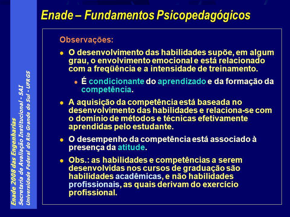 Enade 2008 das Engenharias Secretaria de Avaliação Institucional - SAI Universidade Federal do Rio Grande do Sul - UFRGS Observações: O desenvolvimento das habilidades supõe, em algum grau, o envolvimento emocional e está relacionado com a freqüência e a intensidade de treinamento.