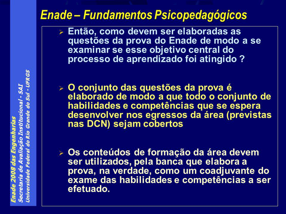 Enade 2008 das Engenharias Secretaria de Avaliação Institucional - SAI Universidade Federal do Rio Grande do Sul - UFRGS Então, como devem ser elaboradas as questões da prova do Enade de modo a se examinar se esse objetivo central do processo de aprendizado foi atingido .