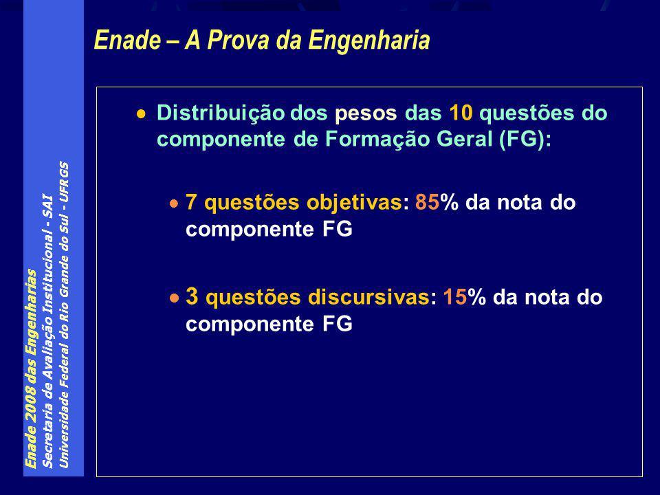 Enade 2008 das Engenharias Secretaria de Avaliação Institucional - SAI Universidade Federal do Rio Grande do Sul - UFRGS Distribuição dos pesos das 10 questões do componente de Formação Geral (FG): 7 questões objetivas: 85% da nota do componente FG 3 questões discursivas: 15% da nota do componente FG Enade – A Prova da Engenharia