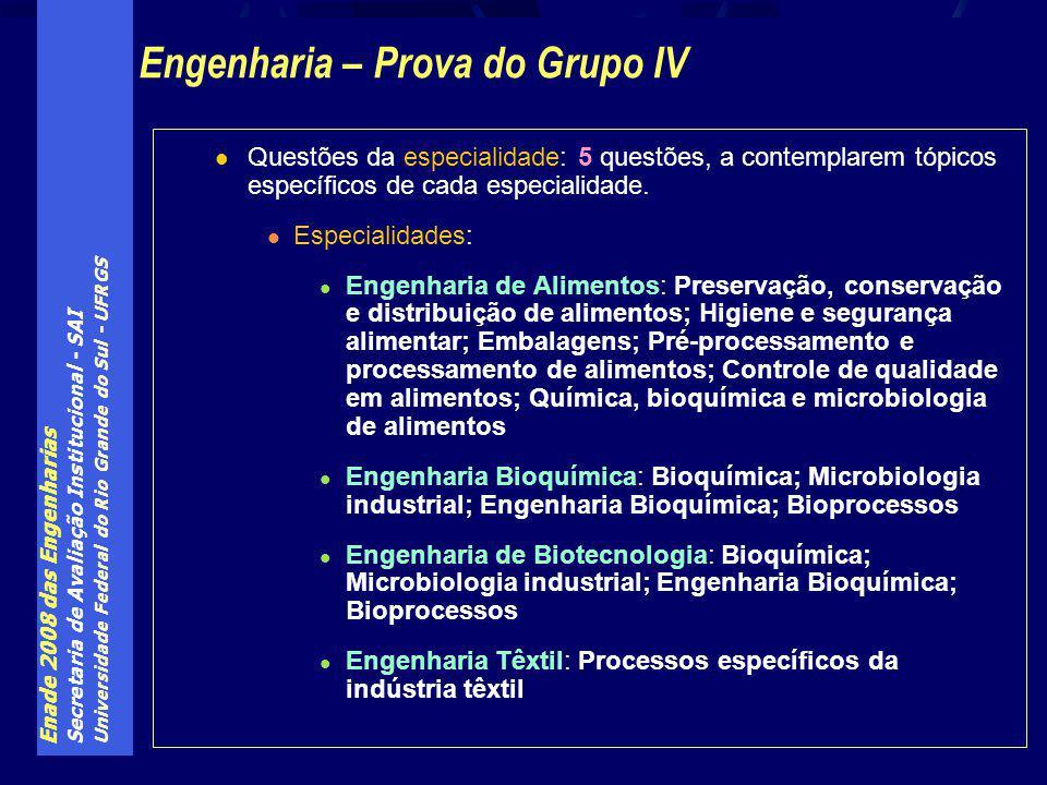 Enade 2008 das Engenharias Secretaria de Avaliação Institucional - SAI Universidade Federal do Rio Grande do Sul - UFRGS Questões da especialidade: 5 questões, a contemplarem tópicos específicos de cada especialidade.