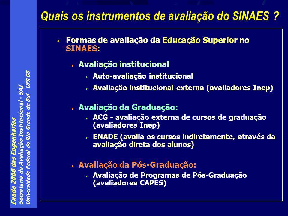 Enade 2008 das Engenharias Secretaria de Avaliação Institucional - SAI Universidade Federal do Rio Grande do Sul - UFRGS Formas de avaliação da Educação Superior no SINAES: Avaliação institucional Auto-avaliação institucional Avaliação institucional externa (avaliadores Inep) Avaliação da Graduação: ACG - avaliação externa de cursos de graduação (avaliadores Inep) ENADE (avalia os cursos indiretamente, através da avaliação direta dos alunos) Avaliação da Pós-Graduação: Avaliação de Programas de Pós-Graduação (avaliadores CAPES) Quais os instrumentos de avaliação do SINAES ?