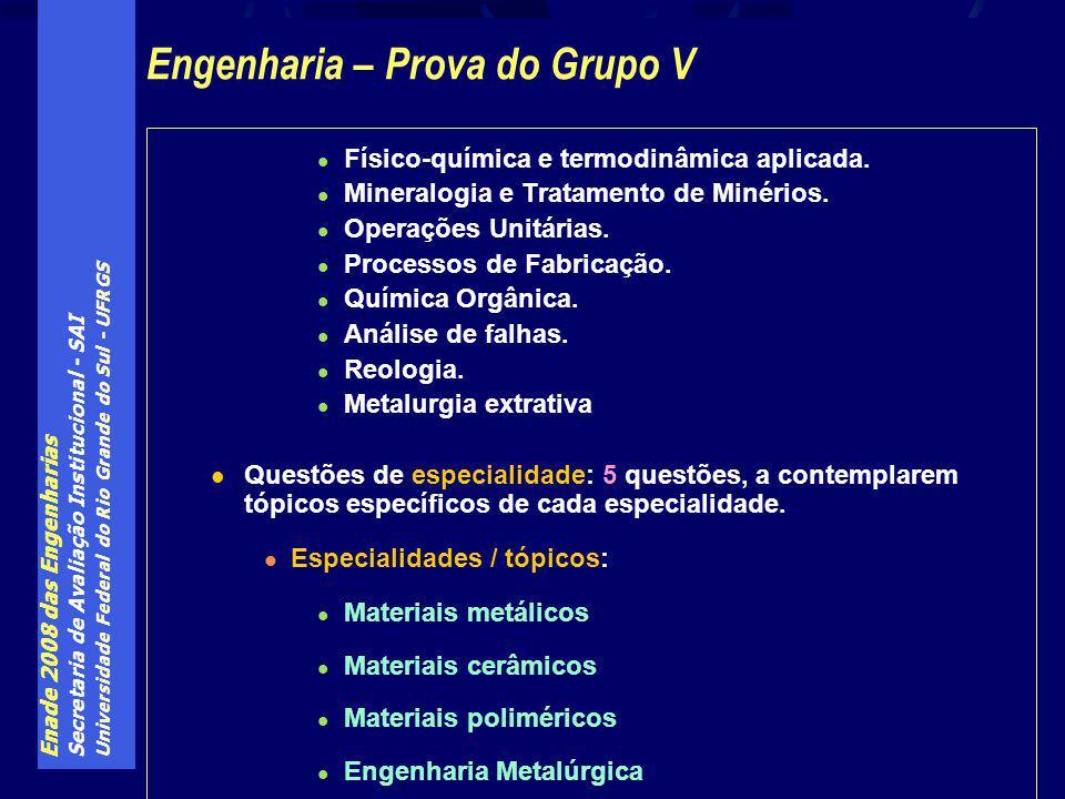 Enade 2008 das Engenharias Secretaria de Avaliação Institucional - SAI Universidade Federal do Rio Grande do Sul - UFRGS Físico-química e termodinâmica aplicada.