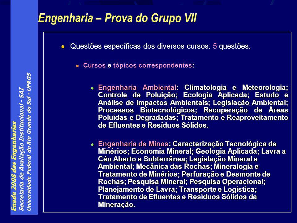 Enade 2008 das Engenharias Secretaria de Avaliação Institucional - SAI Universidade Federal do Rio Grande do Sul - UFRGS Questões específicas dos diversos cursos: 5 questões.