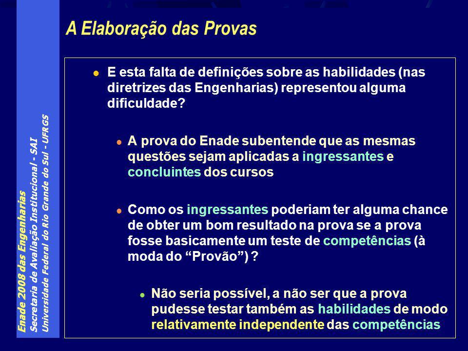 Enade 2008 das Engenharias Secretaria de Avaliação Institucional - SAI Universidade Federal do Rio Grande do Sul - UFRGS E esta falta de definições sobre as habilidades (nas diretrizes das Engenharias) representou alguma dificuldade.