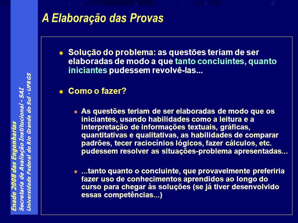 Enade 2008 das Engenharias Secretaria de Avaliação Institucional - SAI Universidade Federal do Rio Grande do Sul - UFRGS Solução do problema: as questões teriam de ser elaboradas de modo a que tanto concluintes, quanto iniciantes pudessem revolvê-las...