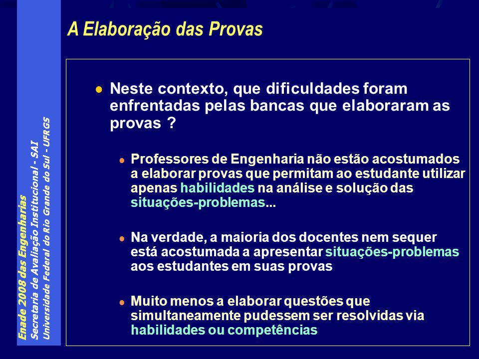 Enade 2008 das Engenharias Secretaria de Avaliação Institucional - SAI Universidade Federal do Rio Grande do Sul - UFRGS Neste contexto, que dificuldades foram enfrentadas pelas bancas que elaboraram as provas .
