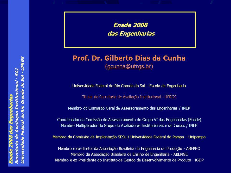 Enade 2008 das Engenharias Secretaria de Avaliação Institucional - SAI Universidade Federal do Rio Grande do Sul - UFRGS Prof.