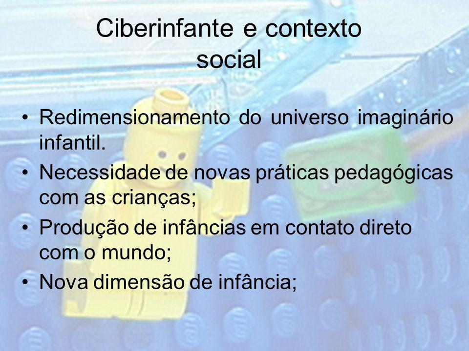 Ciberinfante e contexto social Redimensionamento do universo imaginário infantil. Necessidade de novas práticas pedagógicas com as crianças; Produção