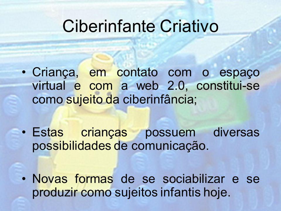 Ciberinfante Criativo Criança, em contato com o espaço virtual e com a web 2.0, constitui-se como sujeito da ciberinfância; Estas crianças possuem diversas possibilidades de comunicação.