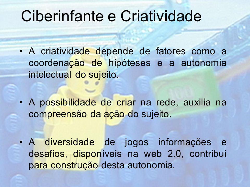 Ciberinfante e Criatividade A criatividade depende de fatores como a coordenação de hipóteses e a autonomia intelectual do sujeito. A possibilidade de