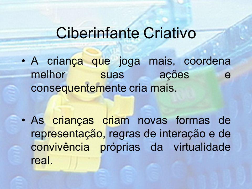 Ciberinfante Criativo A criança que joga mais, coordena melhor suas ações e consequentemente cria mais. As crianças criam novas formas de representaçã
