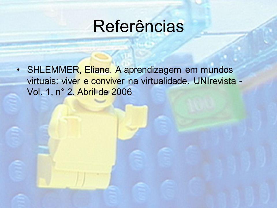 Referências SHLEMMER, Eliane. A aprendizagem em mundos virtuais: viver e conviver na virtualidade. UNIrevista - Vol. 1, n° 2. Abril de 2006